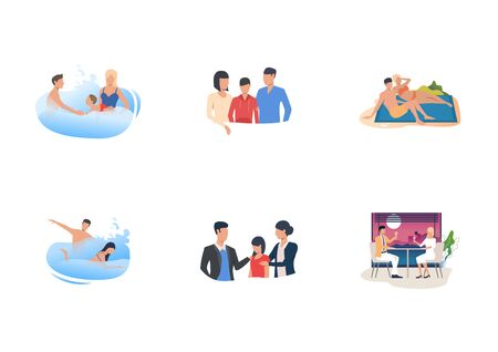 Set of people relaxing on beach. Flat vector illustrations of families swimming, sunbathing, drinking in restaurant. Vacation concept for banner, website design or landing web page Archivio Fotografico - 137952803