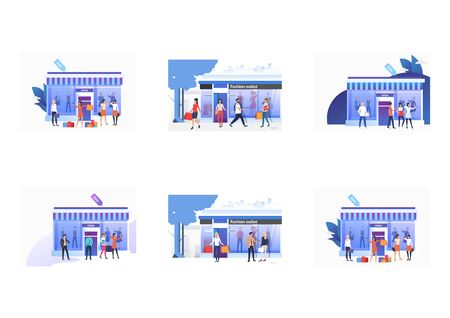 Set of people standing and holding bags near shops. Flat vector illustrations of people choosing, buying clothes in shops. Fashion outlet, boutique concept for banner, website design, landing web page Ilustrace