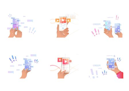 Set of cyber bullying. Flat vector illustrations of phone in hands with abusive messages on screen, users rate. Internet hate concept for banner, website design or landing web page