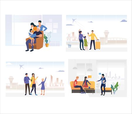Set of family planning vacation. Flat vector illustrations of people going on trip. Family activities, travelling, communication concept for banner, website design or landing web page Illusztráció
