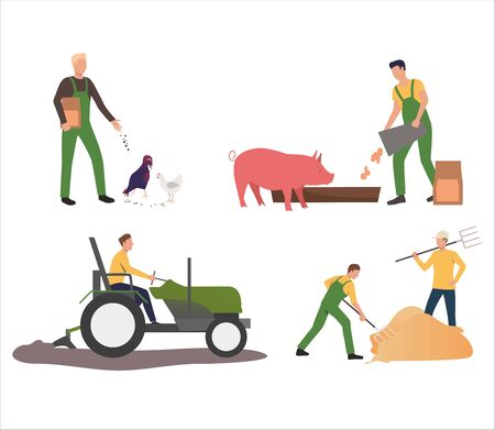 Set of farmers feeding animals and working in field. Flat vector illustrations of people working with cattle and crops. Farming, agriculture concept for banner, website design or landing web page