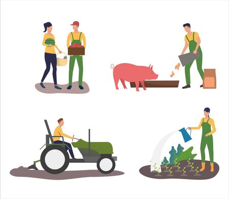 Set of farmers cultivating and harvesting fruits. Flat vector illustrations of people working with cattle and crops. Farming, agriculture concept for banner, website design or landing web page