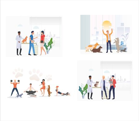 Set of pet owners taking care of pets. Flat vector illustrations of people exercising and playing with pets. Pets, animal shelter, veterinary concept for banner, website design or landing web page