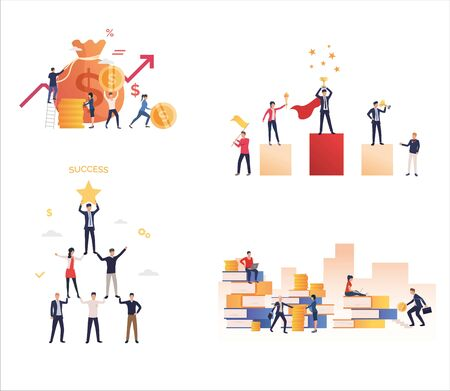 Set of office people achieving business goals. Flat vector illustrations of employees moving up career ladder. Success, achievement, career concept for banner, website design or landing web page Фото со стока - 137957189