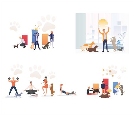 Set of pet owners performing with pets. Flat vector illustrations of people exercising and playing with animals. Pet animal, dog show concept for banner, website design or landing web page