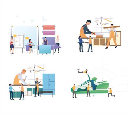 Set of workers crafting and designing products. Flat vector illustrations of people manufacturing goods. Crafting, manufacturing concept for banner, website design or landing web page