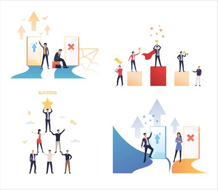 Set of business people achieving professional goals. Flat vector illustrations of people successfully communicating. Professional growth, success concept for banner, website design or landing web page