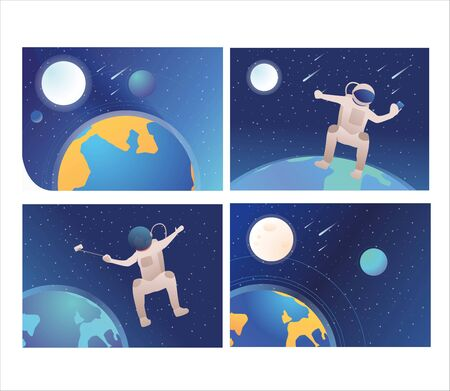 Set of astronauts making selfie in open space. Flat vector illustrations of people moving in no gravity. Floating astronaut, outer space concept for banner, website design or landing web page Çizim