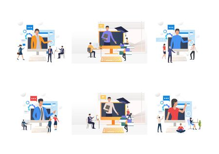 Video seminar set. Professionals listening to speaker appearing on computer monitor. Flat vector illustrations. Online education, training concept for banner, website design or landing web page Ilustrace