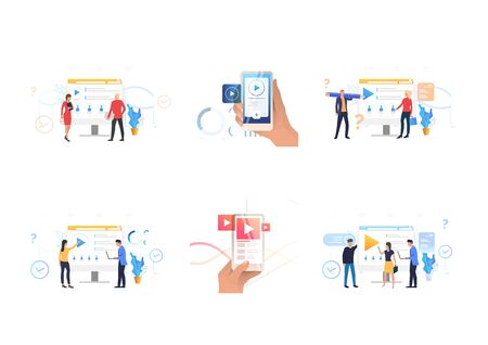 Watching video on internet set. People using media player app on computer or smartphone. Flat vector illustrations. Streaming, broadcasting, TV concept for banner, website design or landing web page
