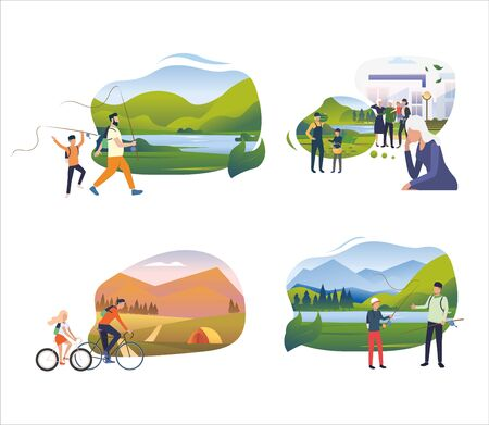 Set of family spending time together. Flat vector illustrations of people going to countryside. Summer outdoor activities, family leisure concept for banner, website design or landing web page 矢量图像