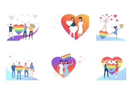 LGBT relationship set. Gay couples holding striped rainbow hearts and flags. Flat vector illustrations. Community, marriage, equality concept for banner, website design or landing web page