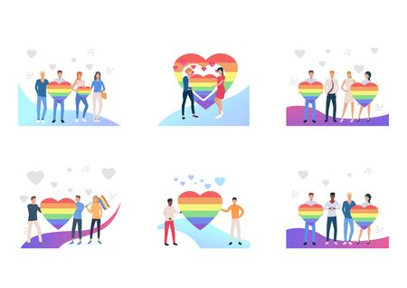 Gay couples set. LGBT men and women holding striped rainbow hearts and flags. Flat vector illustrations. Community, marriage, equal rights concept for banner, website design or landing web page