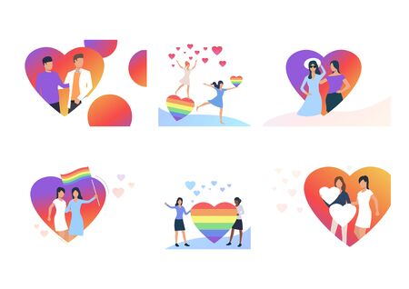 Gay and lesbian couples set. LGBT men and women with striped rainbow hearts and flags. Flat vector illustrations. Marriage, love, equality concept for banner, website design or landing web page 일러스트