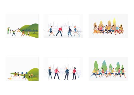 Summer sports set. Athletes exercising in park, jogging, playing tug-of-war. Flat vector illustrations. Activity, outdoor workout, contest concept for banner, website design or landing web page