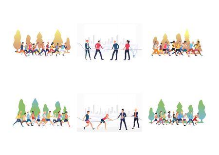 Jeu de compétitions en plein air. Des athlètes courent un marathon, jouent au tir à la corde. Illustrations vectorielles à plat. Mode de vie actif, activité estivale, concept de concours pour la bannière, la conception de sites Web ou la page Web de destination