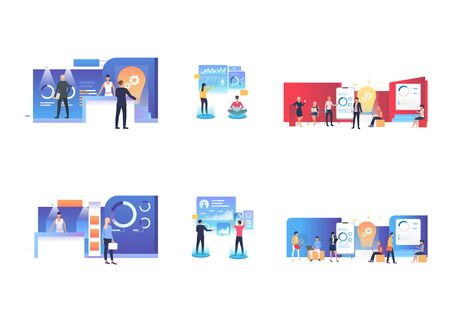 Idea presentation set. Professionals presenting infographics with lightbulbs. Flat vector illustrations. Startup, marketing research, report concept for banner, website design or landing web page
