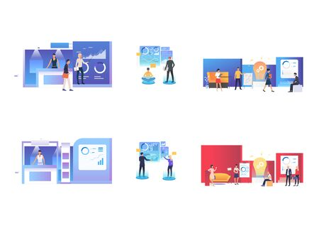 Interactive presentation set. Businesspeople presenting report, virtual chart, ideas for startup . Flat vector illustrations. Business, marketing concept for banner, website design or landing web page