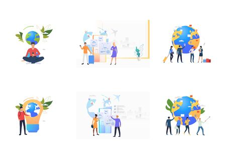 Flight booking set. Tourists buying tickets, waiting in airport with luggage. Flat vector illustrations. Travel, journey, transportation concept for banner, website design or landing web page