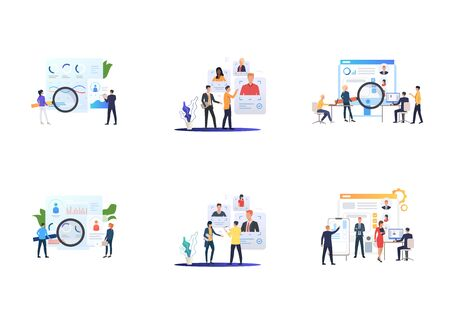 Recruiting agency set. Agents analyzing job candidates profiles. Flat vector illustrations. Career, human resource concept for banner, website design or landing web page Illusztráció
