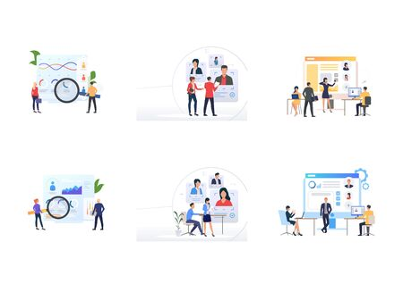 Team of recruiters set. Agents selecting employees with magnifying glass. Flat vector illustrations. Employment, recruiting, personnel selection concept for banner, website design or landing web page