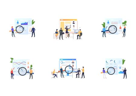 Recruit agents set. Professionals analyzing candidates profiles with magnifying glass. Flat vector illustrations. Employment, job, career concept for banner, website design or landing web page
