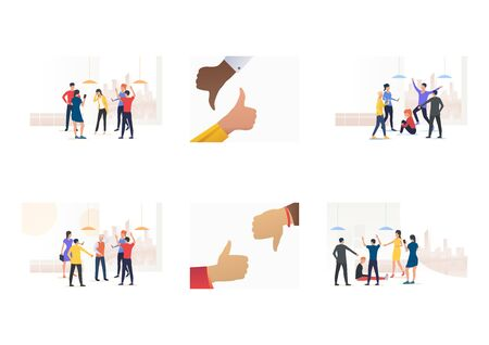 Bullying victim set. Group of adult people mocking mate, human hand, thumb up or down. Flat vector illustrations. Conflict, violence, abuse concept for banner, website design or landing web page 일러스트