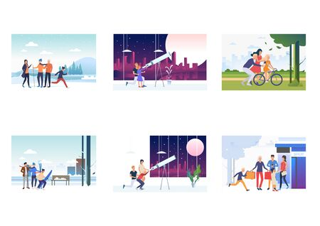 Family activities set. Parents, children skiing, riding bike, visiting observatory. Flat vector illustrations. Leisure, holiday, togetherness concept for banner, website design or landing web page Çizim
