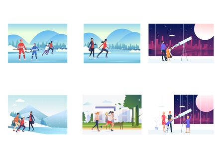 Vacation time set. Parents, children skating on ice, observing sky through telescope. Flat vector illustrations. Activity, hobby, lifestyle concept for banner, website design or landing web page
