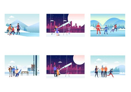 Holiday with family set. Parents, kids skiing, skating on ice, watching sky. Flat vector illustrations. Vacation together, active lifestyle concept for banner, website design or landing web page