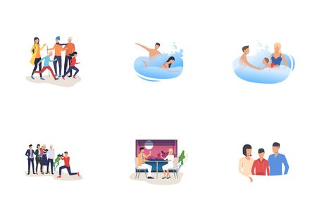Vacation together set. Couples, parents with kids enjoying leisure time. Flat vector illustrations. Family, holyday, recreation concept for banner, website design or landing web page