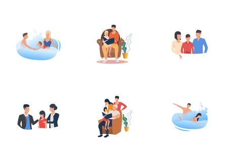 Happy families set. Parents and kids swimming, reading book, giving support. Flat vector illustrations. Enjoying time together, love, unity concept for banner, website design or landing web page Çizim
