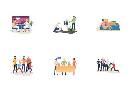 Family holidays set. Couples, parents, children enjoying time together. Flat vector illustrations. Weekend, vacation, unity concept for banner, website design or landing web page Çizim
