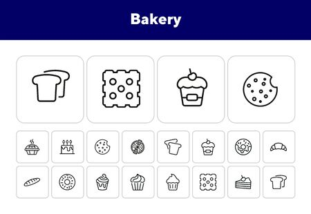 Bakery line icon set. Set of line icons on white background. Cupcake, bread, biscuit, pie. Confectionery concept. Vector illustration can be used for topics like sweets, confectionery, bakery, cafe