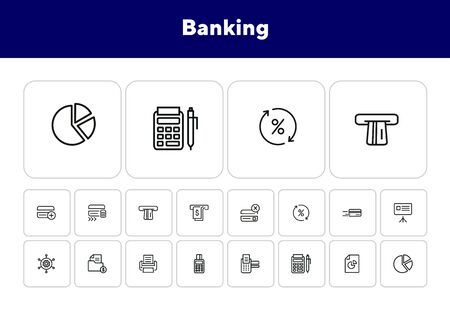 Banking line icon set. Credit card in motion, payment, chart. Business concept. Can be used for topics like finance, service, transaction