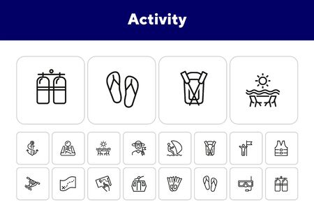 Activity line icon set. Sailing, kayaking, diving. Active lifestyle concept. Can be used for topics like sport, adventure, leisure Ilustracja