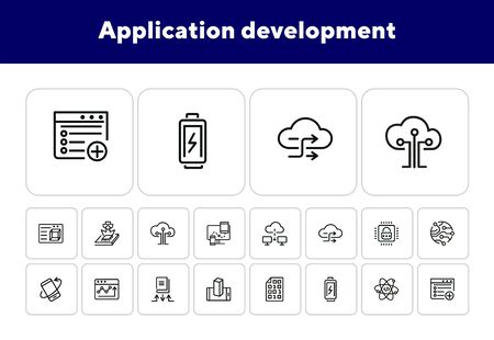 Application development line icon set. Battery charging, binary code, cloud networking. Information technology concept. Can be used for topics like programming, mobile apps, artificial intelligence Ilustrace