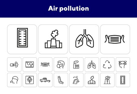 Air pollution icons. Set of line icons. Air filter, allergy, asthma inhaler. Environmental pollution concept. Vector illustration can be used for topics like environment, nature, pollution Illusztráció