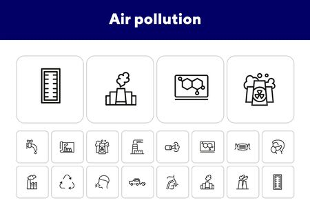 Air pollution line icon set. Fumes, recycling symbol, medical mask. Ecology concept. Can be used for topics like exhaust, industrial pollution, health or nature care