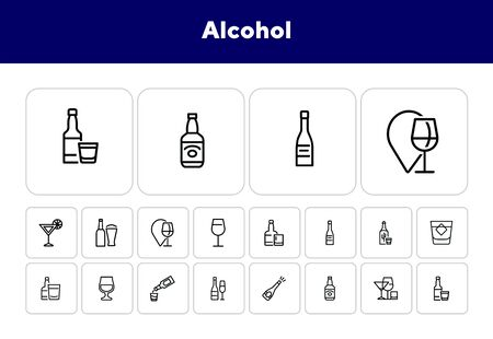 Alcohol line icon set. Set of line icons on white background. Drinking concept. Tequila, whiskey, vodka. Vector illustration can be used for topics like beverage, cafe, bar