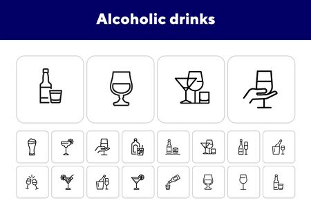 Alcoholic drinks icon. Set of line icons on white background. Martini, toast, whiskey. Beverage concept. Vector illustration can be used for topics like wine menu, bar, drinks Ilustração