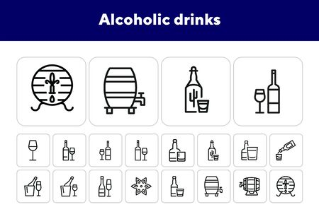 Alcoholic drinks line icon set. Glass, bottle, barrel. Alcohol concept. Can be used for topics like restaurant, bar, pub, wine, shot