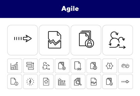Agile line icon set. Task priority, growth chart, idea. Project management concept. Can be used for topics like business, scrum, analysis Ilustração
