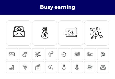 Busy earning line icon set. Money, cash, business. Sales concept. Can be used for topics like finance, investment, banking