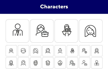 Characters line icon set. Face, personnel, profession. Avatar concept. Can be used for topics like people, social media, occupation Illustration