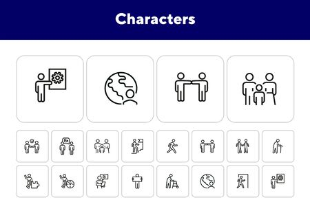Characters line icon set. Old man, person, world. Sociality concept. Vector illustration can be used for topics like relations, working, communication Illustration