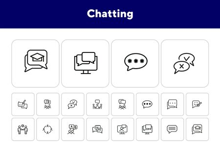 Chatting line icon set. Speech bubble, deal, messenger. Communication concept. Can be used for topics like forum, business, social media