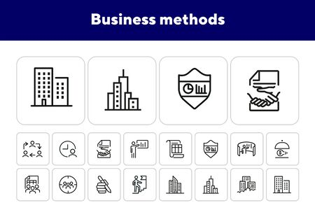 Business methods line icon set. Office building, team, staff, idea. Business concept. Can be used for topics like work on project, teamwork, management, leadership