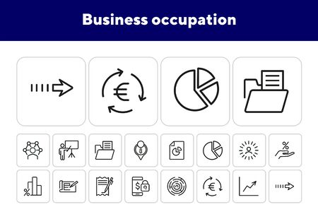 Business occupation icons. Set of line icons.Professional knowledge,percentage diagram, pie chart.Business concept. Vector illustration can be used for topics like business process,professional skills Illustration