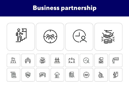 Business partnership icons. Set of line icons on white background. Work, team, project. Career concept. Vector illustration can be used for topics like management, office, job